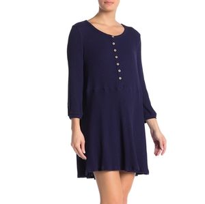 Blu Pepper Long Sleeve Babydoll Dress in Navy